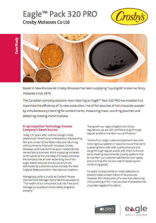 Crosby Molasses: X-Ray Inspection Guarantees Food Safety of Metalized Pouches