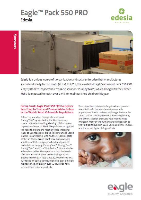 Edesia: X-ray Inspection Systems to Deliver Safe Ready-to-use Foods and Nutrients to Vulnerable Populations