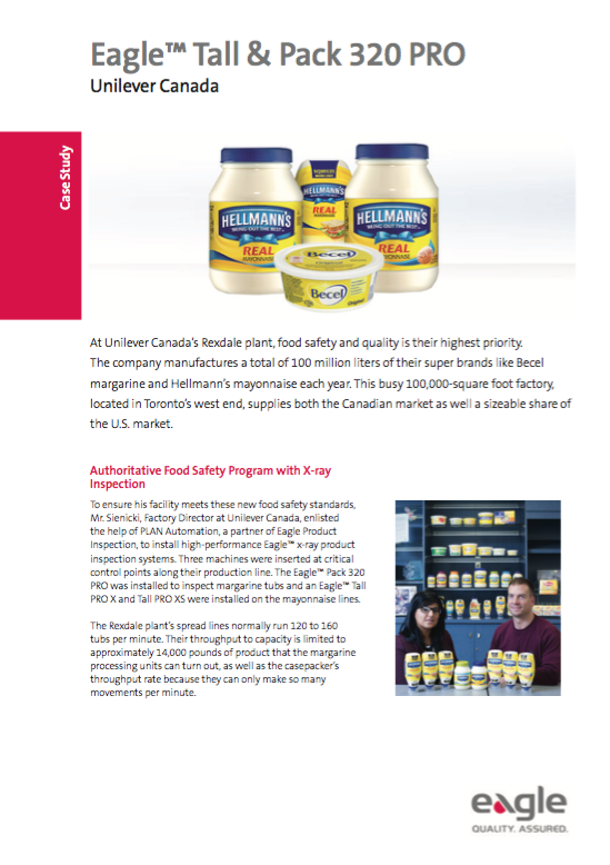 Unilever Canada: Authoritative Food Safety Program with X-ray Inspection
